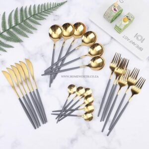 24 piece stainless steel cutlery set | 2 Toned Grey/Gold